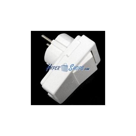 Clavija schuko en ángulo color blanco y con interruptor