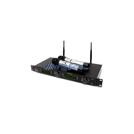 Micrófonos inalámbricos con receptor UHF 2-canal 600-920MHz rack programable grupos G1 G2