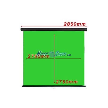 Pantalla cromakey verde 1:1 pared negra 2750x2750mm