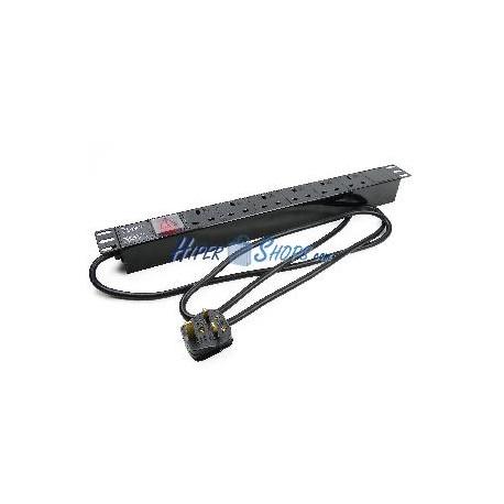 Regleta enchufes de plástico rack 19'''' 6 BS1363 para UK con interruptor de RackMatic
