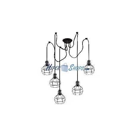 Lámpara para 5 bombillas Edison E27 enjauladas con cable de 2m y contrapesos