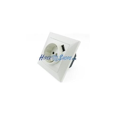 Base de enchufe schuko con USB A-hembra 80x80mm para empotrar
