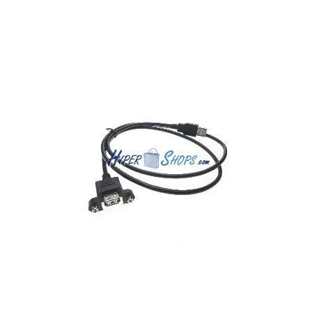Cable USB 2.0 con contector para fijación a panel A-macho a A-hembra 100cm