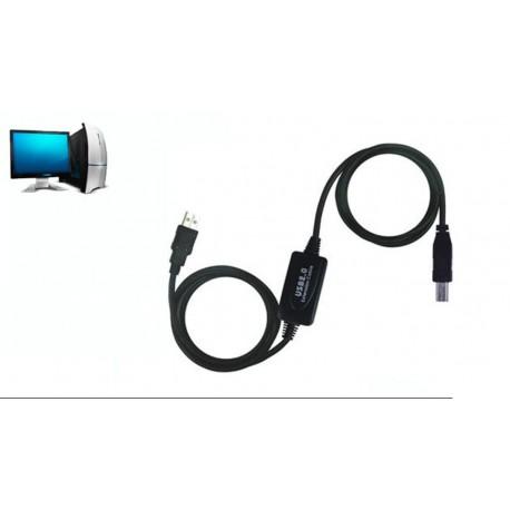 Cable de extensión de señal USB 2.0 A Macho a A Hembra - 25 m