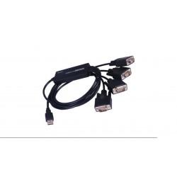Adaptador USB a RS232 4 puertos DB9 Macho negro