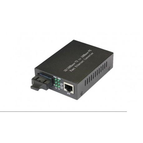 Conversor de fibra 10/100/1000Mbps RJ45 a SC MM 850nm multimodo 550m