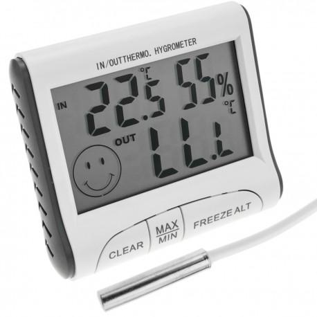 Termómetro e higrómetro con sensor doble interior exterior DW-0223