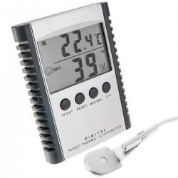 Termómetro e higrómetro con sensor doble interior exterior DW-0204