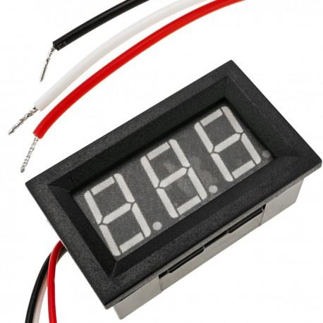 Visor LCD de 3 dígitos rojo y con voltímetro 0-100V con marco