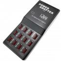 Regleta de alimentación USB A hembra 5VDC 12A con 12 puertos USB