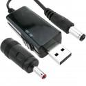 Conversor de alimentación USB de 5VDC a 9VDC o 12VDC con cable 1m