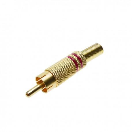 Conector RCA macho dorado alta calidad con marcas rojas