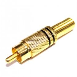Conector RCA macho dorado alta calidad con marcas negras