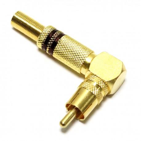Conector RCA macho dorado alta calidad con marcas negras con ángulo