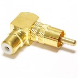 Adaptador RCA hembra a RCA macho dorado alta calidad