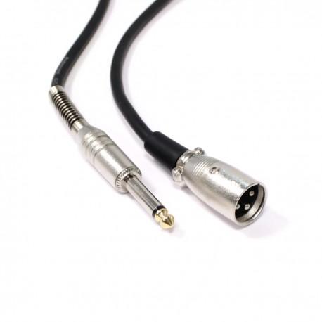 Cable de audio micrófono instrumento XLR 3pin macho a jack 6.3mm macho de 5m