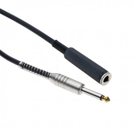 Cable audio micrófono instrumento mono jack 6.3mm macho a hembra de 2m