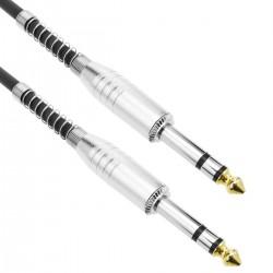 Cable audio micrófono instrumento estéreo TRS jack 6.3mm macho a macho de 1m