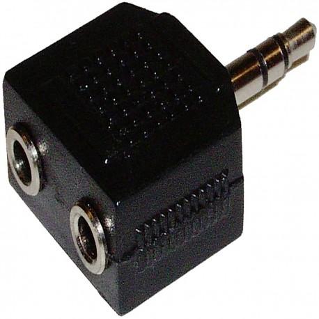 Adaptador Audio Estéreo (Jack-3.5mm-M / 2 x Jack-3.5mm-H)