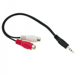 Adaptador Audio Estéreo Jack 3.5mm M a 2RCA H de 25cm