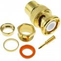 Conector dorado BNC RG6U macho para roscar