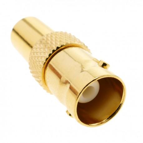 Conector dorado BNC RG6U hembra para crimpar