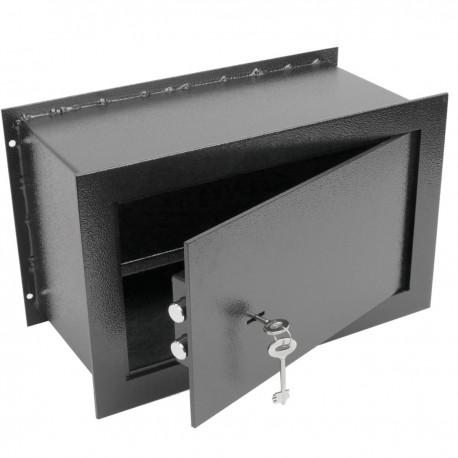 Caja fuerte de seguridad empotrada de acero con llaves 26x15x18cm negra