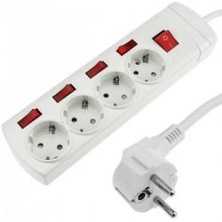 Regleta de 4 enchufes schuko con interruptor individual con cable de 1.5m