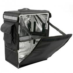 Mochila isotérmica para entrega de pedidos de comida en moto y bicicleta negra 35 x 25 x 49 cm.