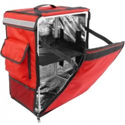 Mochila isotérmica para entrega de pedidos de comida en moto y bicicleta roja 35 x 25 x 49 cm.