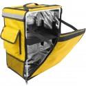 Mochila isotérmica para entrega de pedidos de comida en moto y bicicleta amarilla 35 x 25 x 49 cm.