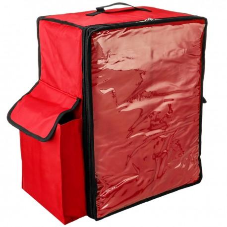 Mochila isotérmica roja 50x23x49 cm para entrega de pedidos de comida en moto y bicicleta