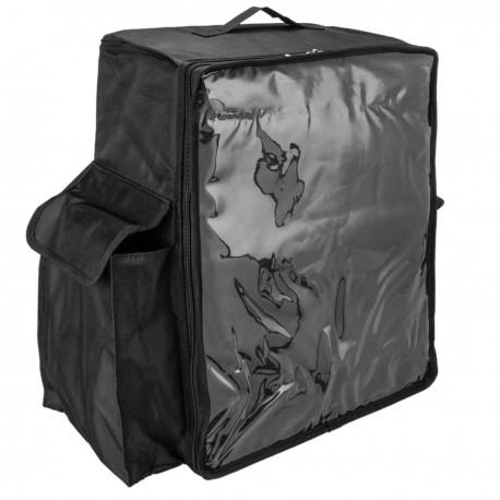 Mochila isotérmica negra 50x23x49 cm para entrega de pedidos de comida en moto y bicicleta