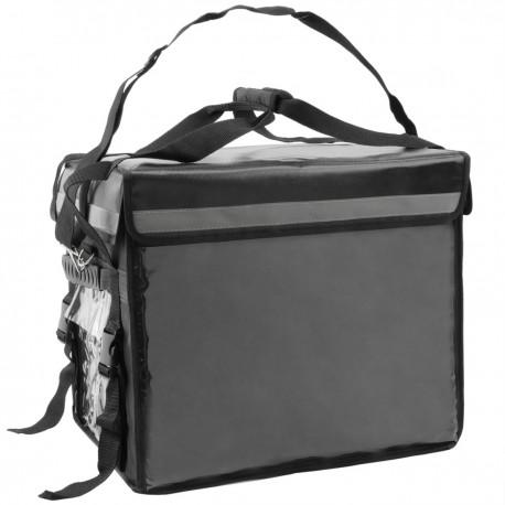 Bolsa isotérmica para entrega de pedidos de comida en moto y bicicleta negra 44 x 34 x 39 cm.