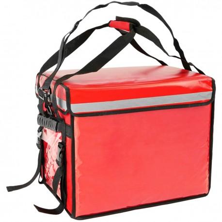 Bolsa isotérmica para entrega de pedidos de comida en moto y bicicleta roja 44 x 34 x 39 cm.