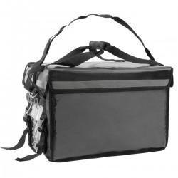 Bolsa isotérmica para entrega de pedidos de comida en moto y bicicleta negra 50 x 39 x 39 cm.