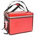 Bolsa isotérmica para entrega de pedidos de comida en moto y bicicleta roja 50 x 39 x 39 cm.