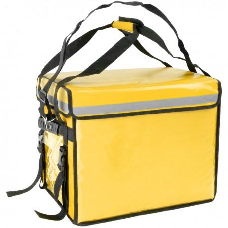 Bolsa isotérmica para entrega de pedidos de comida en moto y bicicleta amarilla 44 x 34 x 39 cm.