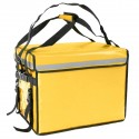 Bolsa isotérmica para entrega de pedidos de comida en moto y bicicleta amarilla 50 x 39 x 39 cm.