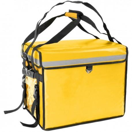 Mochila isotérmica amarilla 45x33x35 cm para entrega de pedidos de comida en moto y bicicleta