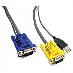 Cable Especial 2 en 1 VGA/USB 3m (HD15M/HD15M+AM)