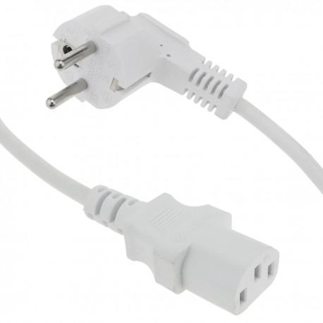 Cable de alimentación eléctrico IEC-60320 blanco C13 Schuko macho 5 m
