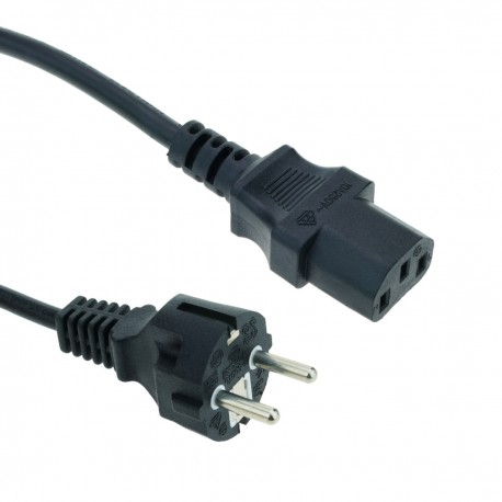 Cable eléctrico de alimentación IEC60320 C13 a schuko macho recto de color negro 5m