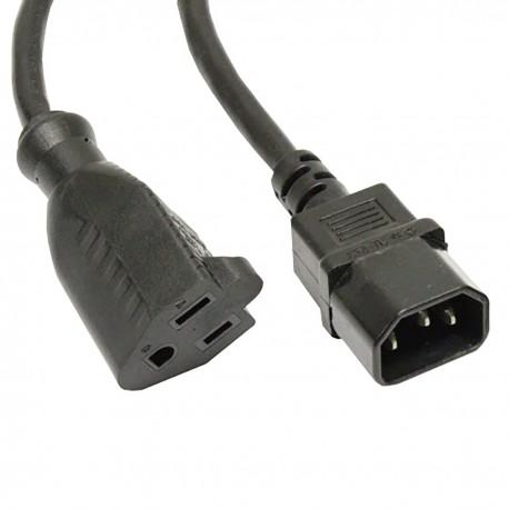Cable eléctrico US NEMA-5-15R a IEC-60320-C14 de 0.4m negro