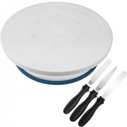 Base giratoria para pasteles de 28 cm con accesorios. Plataforma rotatoria de color blanco