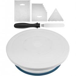 Base giratoria para pasteles de 28 cm con kit de tramas. Plataforma rotatoria de color blanco