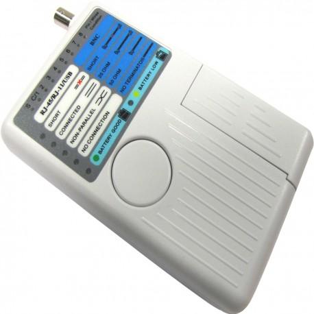 4-in-1 Cable Tester (RJ45 + RJ11 + USB + BNC)