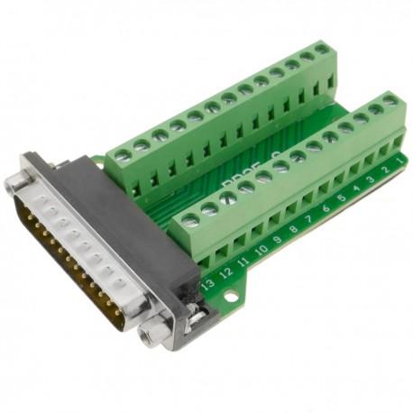 Adaptador de conexión serie DB25-macho a bloque de terminales de 26-pin