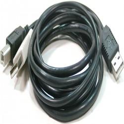 Cable USB 2.0 de doble alimentación 2AM a BM 3m