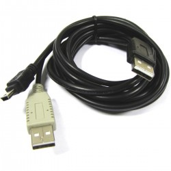 Cable USB 2.0 de doble alimentación 2AM a mini USB 1.2m